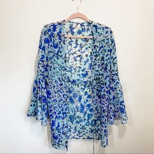 Yumi Kim blue floral long sleeve cover up top